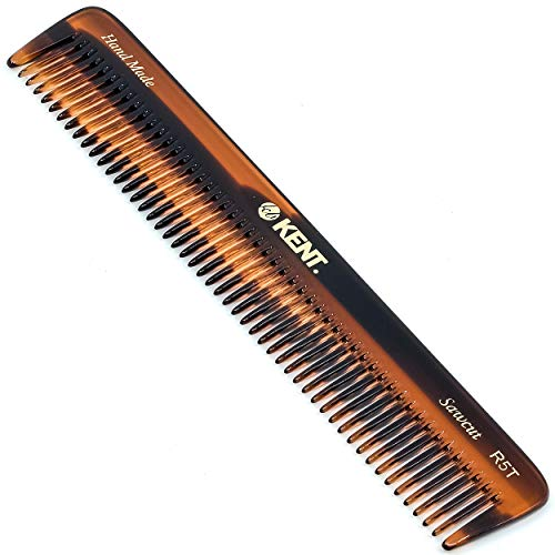 Kent R5T All Coarse Hair Detangling Comb Wide Teeth Dressing Table Comb for Thick Curly Wavy Hair. Hair Detangler Comb for Grooming Styling Hair, Beard and Mustache. Saw-Cut. Handmade in England