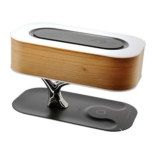PETSOLA Luz de Mesa de Noche Altavoz Bluetooth Incorporado y Cargador inalámbrico, luz en Forma de árbol con Modo de suspensión, lámpara de Escritorio con