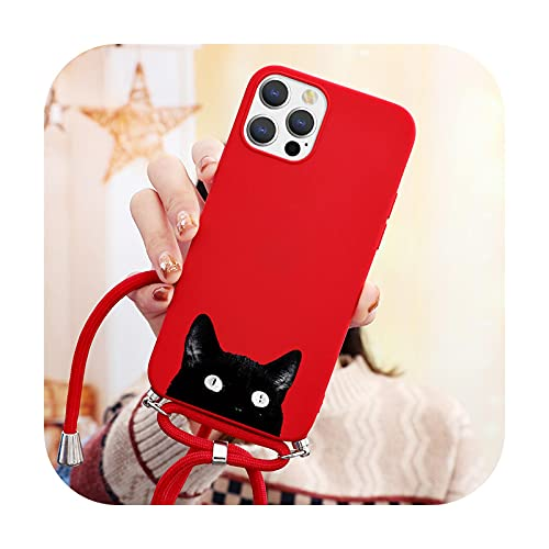 Schutzhülle für iPhone 12 Pro Mini XR XS Max X 7 8 SE 2020 6 6S Plus 10 Cover für iPhone 11 Pro Max Halskette Lanyard Seil Soft TPU Case - dbheimao-Khos-For iPhone 6 oder 6S