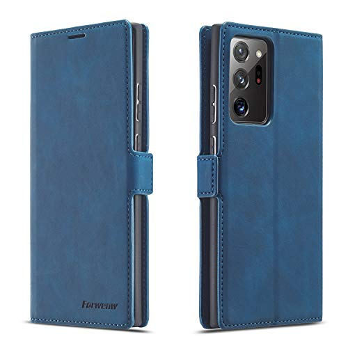 QLTYPRI Samsung Galaxy Note 20 Ultra 5G Case, Premium PU Leather Cover TPU Bumper with Card Holder Kickstand Hidden Magnetic Shockproof Flip Wallet Case for Samsung Galaxy Note 20 Ultra 5G - Blue
