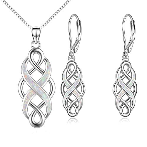 YFN Irish Celtic Knot Created Opal Pendant Necklace Earrings Jewelry Set Infinity Love Sterling Silver CZ Jewelry