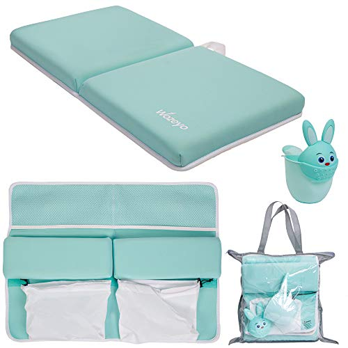 WOZEYO Bath Kneeler & Elbow Rest Pad Set - 1.5 Inch Extra Thick Non-Slip Bathtub Kneeling & Elbow Pad for Knee & Arm Support with Rinse Cup, Toy Organizer & Storage Pockets - Machine Washable