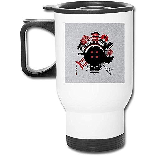 Circle Japan Dragon Ball Z Godzilla 16 Oz Tazza da caffè in acciaio inossidabile a doppia parete con coperchio a prova di spruzzi