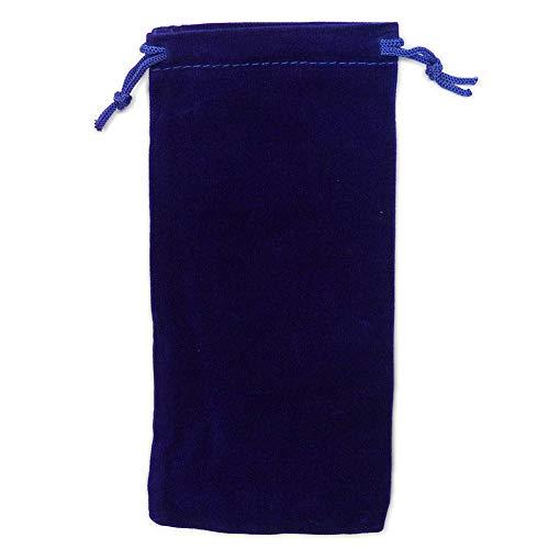 カラーポーチ 巾着袋 8×17cm 小物入れ ケース ソフトタイプ ベルベット スエード調 メガネポーチ サングラス 眼鏡 スマホ入れ スマートフォン アクセサリー用 (ブルー)