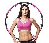 ManK Hula Hoop - Pneumatico fitness per perdita di peso e massaggio, 8 sezioni rimovibili, adatto per adulti e bambini, diametro 95 cm, circa 1,2 kg, rosa + grigio