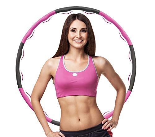 ManK Hula Hoop Reifen, Hula Hoop Reifen Erwachsene, Hoola Hoop Reifen zur Gewichtsverlust und Massage, 8 Abnehmbare Abschnitte Fitness Reifen für Kinder, Rosa + Grau