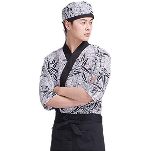 Men's Sushi Chef Uniform Bamboo Leaves Patterns Japanese Kitchen Work Coat