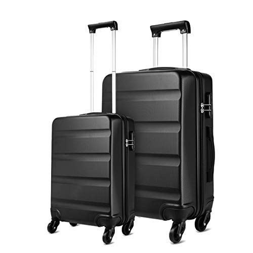 Kono ABS Hard Shell Luggage Sets of 2 Lightweight Travel Trolley Suitcase (Cabin+Large, Black)