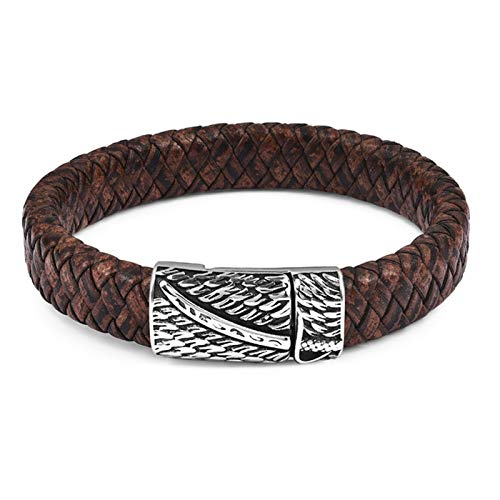 PmseK Armbänder/Bangle Armband, Luxury Punk Men Jewelry Black/Brown Braided Leather Bracelet Stainless Steel Magnetic Clasp Bangles 18.5/22/20.5Cm Black A1 22cm