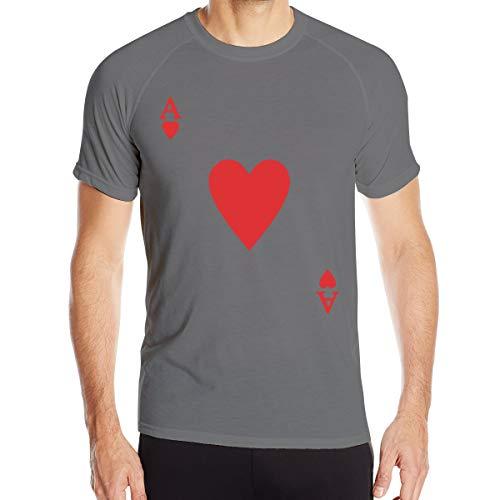 UKFaaa - Camiseta deportiva para hombre, diseño de corazón de un as de picas, color rojo