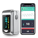 Bluetooth Fingertip Pulse Oximeter Oximetry Blood Oxygen Saturation Monitor and Pulse Rate Monitor for Apple and Android, Includes lanyard and 2*AAA battery