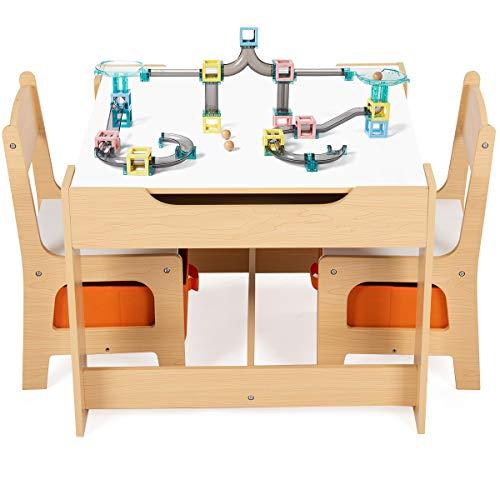 DREAMADE 3 tlg. Kindersitzgruppe Holz, Kindersitzgarnitur mit Tafel und Stauraum, Kinder Maltisch, Schreibtisch Stuhl Kindermöbel, Kindersitz Set, Kindertisch mit 2 Stühle