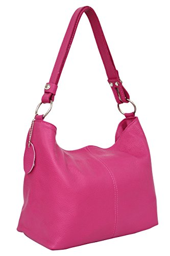 AMBRA Moda Damen Leder Handtasche Schultertasche Umhängetasche Hobo bag GL005 (Pink)