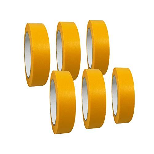 6 Rollen Goldband 'Premium' Abdeckband/Gold Kreppband/Abdeckdeckband/Malerkrepp, Abmessungen:25 mm x 50 m
