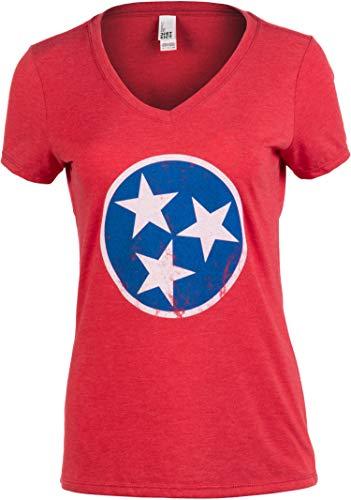 Tennessee Flag | Vintage Distressed Tennesseean Volunteer State Women T-Shirt-(Vneck,3XL)