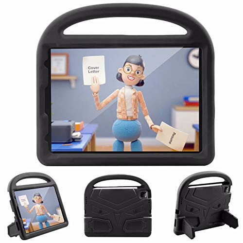 Children Tablet protective Case Cover All-inclusive Handle cartoon shell For Apple iPad Pro 11' inch 2nd Generation 2020 With pen slot Stand (Black)