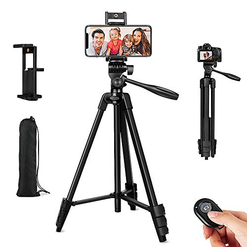 """Phone Tripod,54"""" Adjustable Cell Phone Tripod,Lightweight Tripod 360° Rotation with Bluetooth Remote Control Mount,Portable Bag,Sport Camera Adapter,for iPhone Ipad Smartphone Camera Projector (54"""")"""