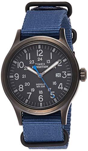 Timex Men's TW4B04800 Expedition Scout 40 Blue Nylon Slip-Thru Strap Watch
