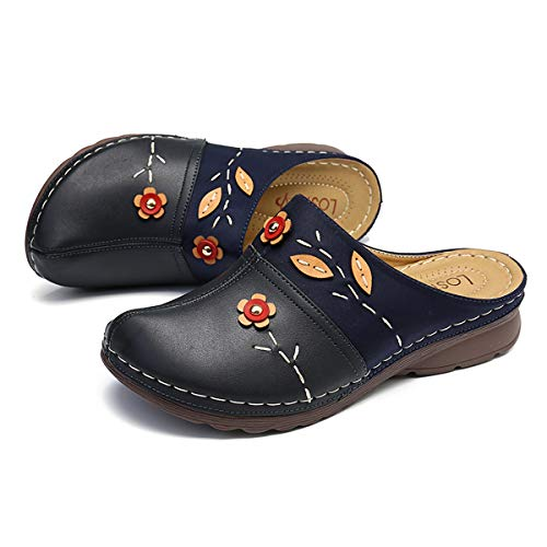 gracosy Damen Sandalen Flache Clogs Mokassins Slipper Leder Sandalen Plattform Pantoffel Damenschuhe Sommerschuhe Komfort Rückenfreie Sandalen-Schwarz, Blau