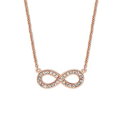 Noelani Damen-Kette mit Anhänger Infinity rosévergoldet veredelt mit Swarovski Kristallen 42+3 cm