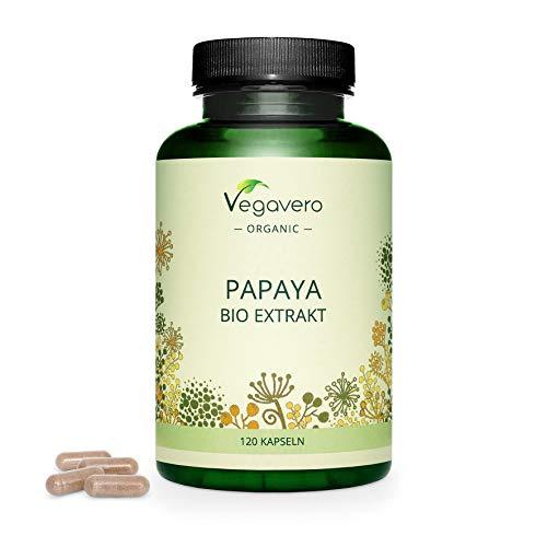 BIO Papaya Vegavero | Alta Dosis 1400mg | Calidad Española | Sin Aditivos | Estreñimiento + Digestión + Gases | Fuente de Papaína & Vitamina C | 120 Cápsulas