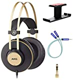AKG Pro Audio K92 Over-Ear Closed-Back Studio Headphones, Matte Black and Gold for Mobile Devices, Hi-Fi Listening Bundle with Blucoil Aluminum Headphone Hook, and Y Splitter Cable for Audio and Mic