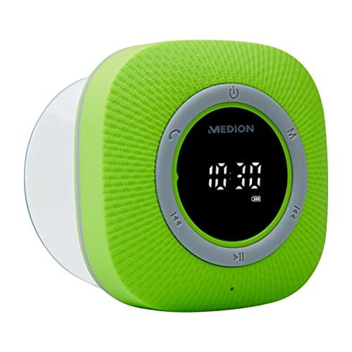 MEDION P66096 Duschradio mit Bluetooth (Badradio, UKW Radio, Saugnapf, LED-Bildschirm, IPX6 Wasserdicht, integrierter Akku) grün