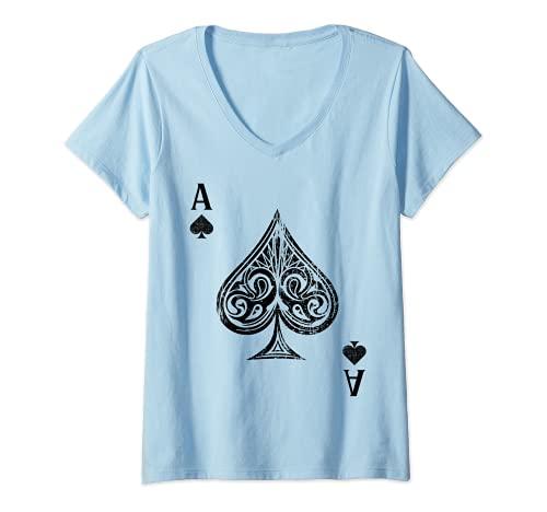 Mujer As de espadas Camiseta Cuello V