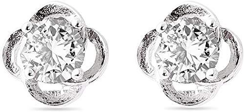 RAZIGI Pendientes de Plata esterlina de Las Mujeres, Plata de Ley 925, circonio cúbica de 5a, trébol de Cuatro Hojas afortunados para niñas, colocación de Ropa (Color : White)