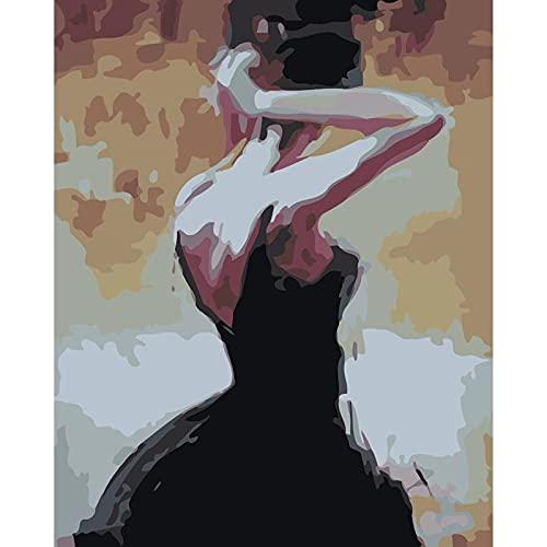 Sin marco Pintura por números Diy Kit de pintura al óleo por números Belleza en pintura blanca por números para adultos para decoración del hogar A2 45x60cm