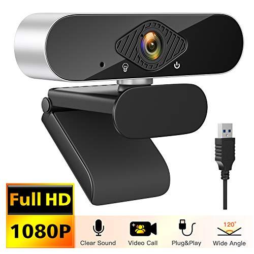 Honmax Webcam 1080P mit Mikrofon- USB 2.0 Plug & Play für PC Laptop Desktop, Webkamera für Videoanrufe, Lernen, Konferenz, Spielen- Drehbarem Clip mit