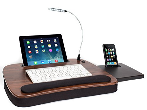 Sofia + Sam Multi Tasking Memory Foam Lap Desk with USB Light (Wood Top) - Supports Laptops Up to 15 Inches