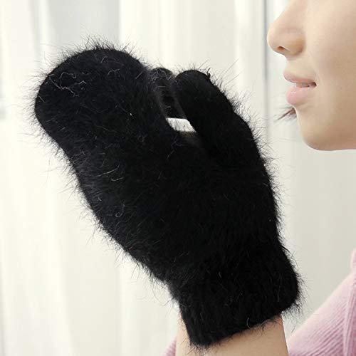 Iandao süße Kaninchenwolle Handschuhe für Frauen Winter Fäustlinge Fellhandschuhe Winter Handschuhe Frauen Mädchen Fäustlinge, Herren, BK
