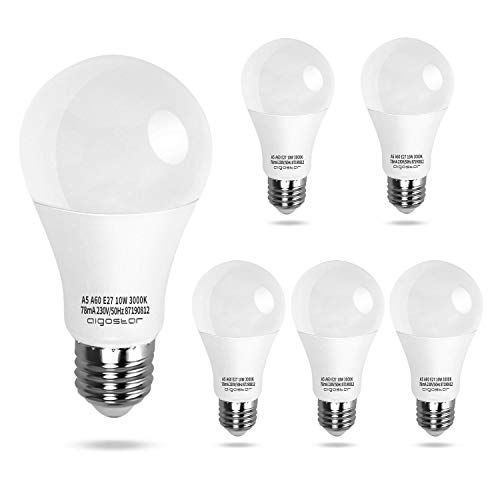 Aigostar - Bombilla LED E27, 10W, 800lm, Luz calida 3000K Ángulo 280°,no regulable 5 unidades[Clase de eficiencia energética A+]