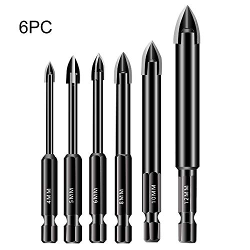 6Pcs Glass Drill Bit Set 4/5/6/8/10/12mm Carbide Tipped Tile Drill Bit Hex Shank Spear Head Drill Bit for Glass Tile Ceramic Mirror Porcelain Marble