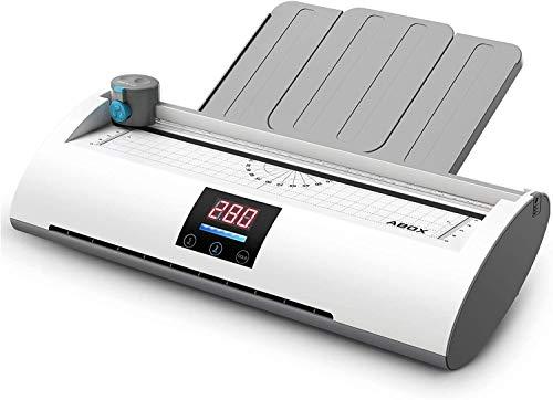 Plastificatrice A4 A5 A7, ABOX Pixseal II Plastificatore a Caldo Freddo Display della Temperatura Riscaldamento Veloce Laminatrice Laminatore 350mm/min Veloce con Taglierina Tagliangoli 20 Fogli