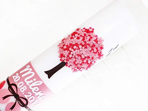 Taufkerze Mädchen, Taufe, Hochzeit, Lebensbaum, Blütenbaum, Baum, Kerzen, Wachs, handgemacht, weiß, 275x70mm, made in germany