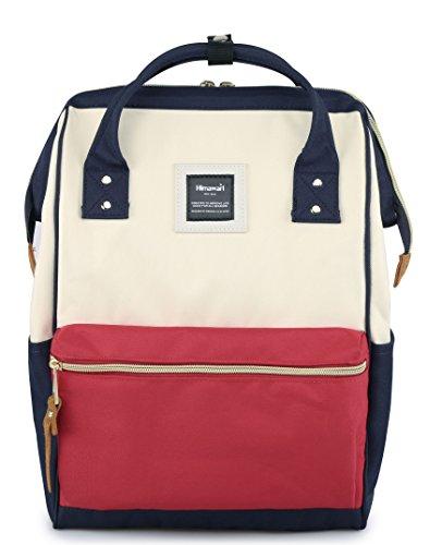 Himawari Travel Backpack Laptop Backpack Large Diaper Bag Doctor Bag Backpack School Backpack for Women&Men(XK White & Red & Navy)