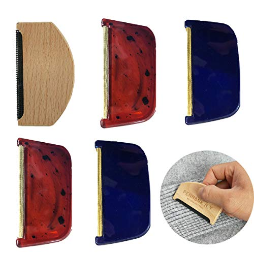Fusselkamm für Wolle,Tangger Haarentfernung Kleidung Fusselrasierer Manuell Fusselkamm für Kaschmir Couch und Weitere Textil-Stoffe,5 PCS