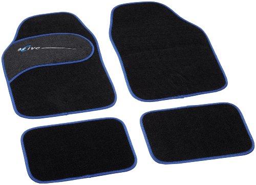 Unitec 74331 Active - Alfombras para Coche (4 Piezas), Color Negro y Azul