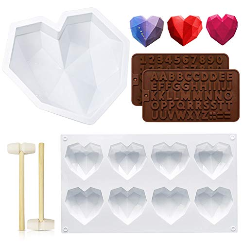 Molde de silicona en forma de corazón,DIY herramientas de hornear,molde para chocolates en silicona, pastel molde 3D,molde de silicona con forma de corazón,Molde de silicona