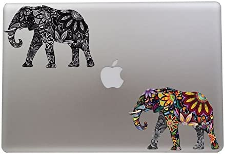 eDesign Colorful Elephant and Black White Elephant Decals 5 Inch each For Apple Macbook Laptop product image
