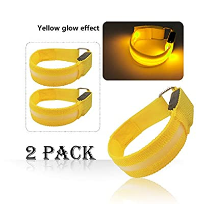 LED Armband for Running Cycling Exercising Glow Light up in Dark Night Running Gear Safety Reflective Sports Event Wristbands with USB Charging Cord (2 Pack Yellow)