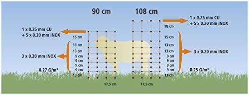 VOSS.farming Schafzaun 90cm Classic 50m | Schafnetz Ziegenzaun Elektronetz | 14 Pfähle 2 Spitzen | Orange - 4
