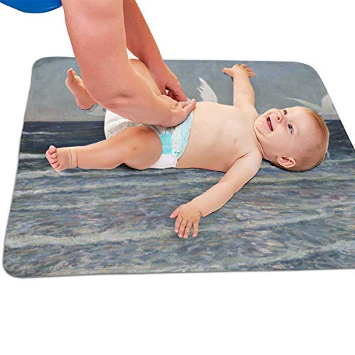 Zcfhike Baby Portable Diaper Changing Pad Sea Egret Urinary Pad Baby Changing Mat 31.5' x25.5''