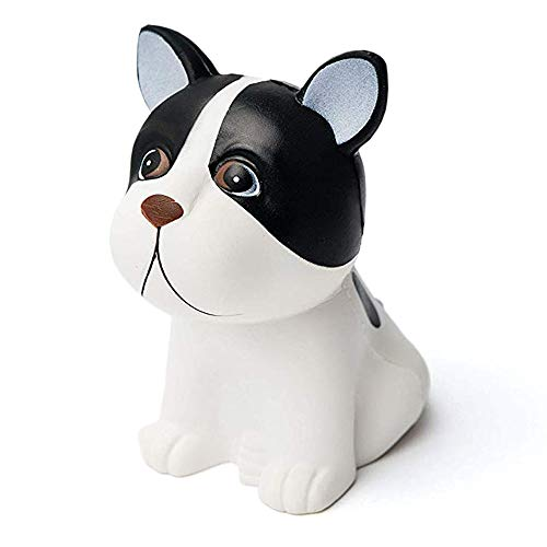 Coco's Toys Dog Squishy Toy Made of Slow Rising, Soft Squishie Material, Ideal As Stress Relief Toys Or Favor Bag Fillers (Black and White Squishy Dog Design)