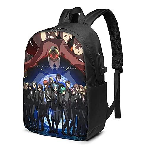 Mochila portátil con puerto de carga USB mochilas de viaje bolsas casuales para niños niñas adolescentes, Assassination Classroom 4, Talla única