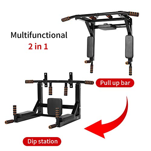 Product Image 7: Newan Pull Up Bar Wall Mounted Chin Up Bar Multi-Grip Full Body Strength Training Workout Dip Bar,Power Tower Set Support to 440Lbs