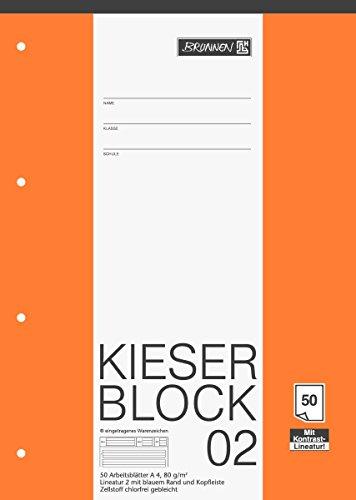Brunnen 1042942 KIESER-Block Lineatur 2 (A4, 50 Blatt, gelocht, 80 g/m², Klasse 2)