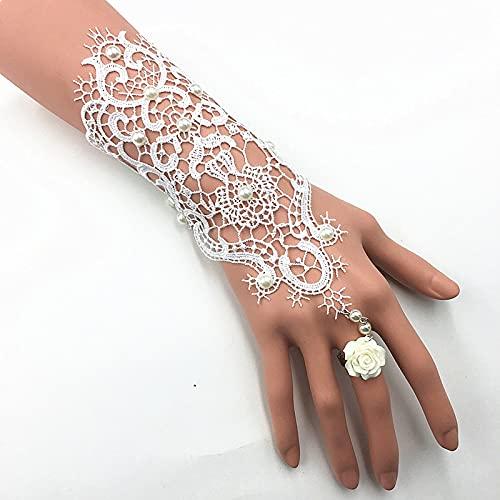 Taosheng 1 par de diamantes de imitación de perlas de encaje, guantes de novia, pulsera de boda, color blanco, negro, rosa, novia, fiesta, baile, joyería (color: blanco)